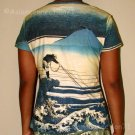 FISHERMAN Ukiyoe New Japan Art Print Cap Sleeve T Shirt Misses L