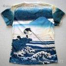 FISHERMAN Ukiyoe Japanese Art Print Cap Sleeve PN T Shirt Misses M