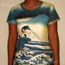 FISHERMAN Ukiyoe Japanese Art Print Cap Sleeve T Shirt Misses Size S