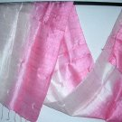 Thai Silk Fabric Scarf New Hand Crafted PINK and CREAM