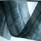 Thai Silk Fabric Scarf Shawl New INDIGO BLACK and GREY Textile Art