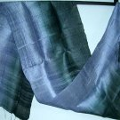 Thai Steel BLUE and Indigo BLACK Hand Crafted Silk Textile Fabric Scarf