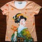 AUTUMN GEISHA Hand Print Japan Cap Sleeve Art T Shirt Misses L Large