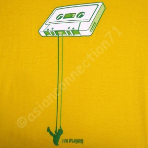 I'm Playing Tape Swing CISSE Disco DJ T-shirt Slim XXL Yellow BNWT! Clearance Sale!
