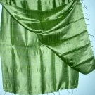 OLIVE GREEN Thai Silk Fabric Scarf Shawl Hand Craft