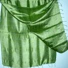 OLIVE GREEN Thai Silk Fabric Scarf Shawl Hand Craft