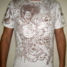 Japan RAIJIN THUNDER GOD Irezumi Tattoo Short Sleeve T Shirt XL Brown