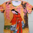 Red Kimono with Sakura Japan Art Print T Shirt Misses M Medium Short Sleeve