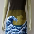 GIANT WAVE Hokusai UKIYOE Japan Art Print Dress Misses M Medium Size 8-10