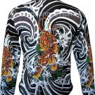 Japanese TIGER IREZUMI Japan Tattoo LONG SLEEVE T Shirt Mens XL Extra Large