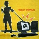 SHUT DOWN Otaku CISSE Gamer Shirt Singlet TANK TOP Asian L Yellow