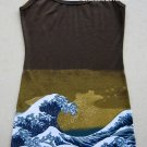 GIANT WAVE Hokusai UKIYOE Japan Art Print Dress Misses Size S Small 4-6