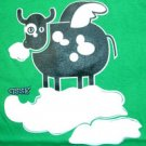 FLYING COW Fun CISSE Disco Club Party Rave T-Shirt Slim Fit Asian M Medium Green BNWT