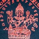PRAPROM Thai Hindu Brahma God Magic Tattoo T Shirt L Red on Black