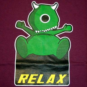 RELAX MONSTER Fun New CISSE T-Shirt Asian L Purple BNWT
