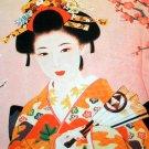 Geisha with Sensu Japan Ukiyoe Art Print LONG SLEEVE T Shirt Misses Size S