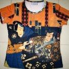 Sharaku Ukiyoe Japan Samurai Cap Sleeve Art T Shirt Misses M Medium