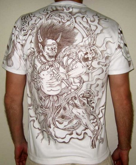 Top Free Oni Irezumi Backgrounds: Japan RAIJIN THUNDER GOD Irezumi Tattoo Short Sleeve T