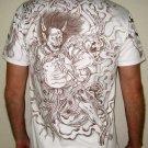 Japan RAIJIN THUNDER GOD Irezumi Tattoo Short Sleeve T Shirt L Brown