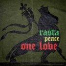 RASTA PEACE ONE LOVE Roots Reggae Lion T-Shirt XXL Green
