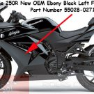 Kawasaki Ninja 250R EX250 OEM Left LH Fairing Cowling EBONY BLACK Genuine 55028-0271-H8 2008-2012