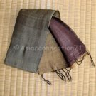 Thai Silk Fabric Scarf New Hand Craft GREEN GOLD BROWN