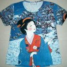 WINTER SNOW GEISHA Japan Cap Sleeve Art Print T-shirt Misses L Large