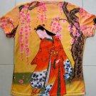 Red Kimono with Sakura Japan Art Print T Shirt Misses S Small Short Sleeve