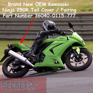 Kawasaki Ninja 250R EX250 36040-0115-777 OEM Right Tail Fairing GREEN 2008-2012