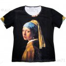 Girl with Pearl Earring New Vermeer Fine Art Print Short Sleeve T Shirt Misses M