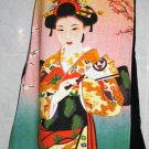 GEISHA with SENSU Japan Art Print Freesize Long Cotton Wrap Skirt S-XL