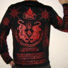 Thai SUA Tigers LONG SLEEVE Magic Sak Yant Tattoo T Shirt L Large Red on Black