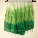 Thai Silk Fabric Scarf Large Shawl Variegated Greens Textile Art