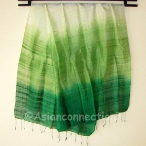 Thai Silk Fabric Scarf Large Shawl Variegated Greens Textile Art