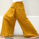 Thai XXXL Plus Size Cotton Fisherman Pants Solid AMBER GOLD Yoga Beach Dance 3XL