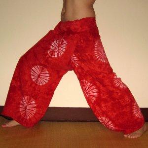 PLUS SIZE Thai Cotton Fisherman Pants Yoga Trousers RED Tie Dye XXXL 3XL