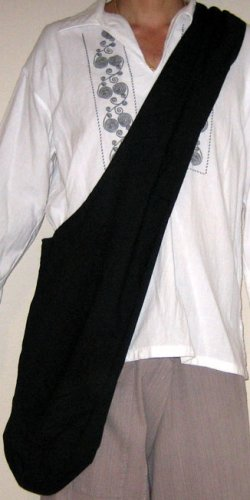 Thai Hippy Trippy Cotton BUDDHA BAG Sling Purse BLACK Messenger Tote