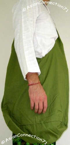 Thai Hippy Trippy Cotton BUDDHA BAG Sling Purse Messenger OLIVE Green