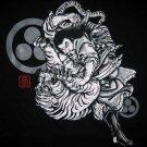 BUSHIDO BATTLE Japanese RONIN Tokyo Yakuza T-Shirt XXL BLACK