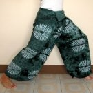 PLUS SIZE Thai Cotton Fisherman Pants Yoga Beach Dance Trousers Dark Green Tie Dye