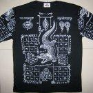 Thai JORAKE Crocodile Tattoo Black Magic T-Shirt M New White on Black
