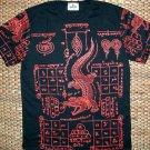 Thai JORAKE Crocodile Tattoo Black Magic Biker Short Sleeve T-Shirt M New Red on Black