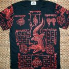 Thai JORAKE Crocodile Black Magic Biker Tattoo T-Shirt L New Red on Black