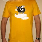 SURREAL FLYING COW Cisse Disco Party Rave T-Shirt Slim Fit Asian XL Yellow BNWT