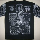 Thai JORAKE Crocodile Tattoo T-Shirt L New White on Black