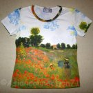 POPPIES Claude Monet Fine Art Print Cap Sleeve T shirt Misses Size M Medium