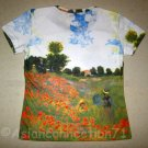 POPPIES Claude Monet Fine Art Print Cap Sleeve T shirt Misses Size L Large