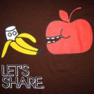 LET'S SHARE Apple Banana Retro Japanese T-shirt Slim Fit Asian L Brown