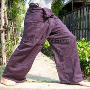 Thai Cotton Drill FREESIZE Fisherman Yoga Pants MANGOSTEEN Maroon Stripe