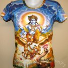 VISHNU GARUDA Gajendra Hindu Art Print T Shirt Misses L Large Short Sleeve